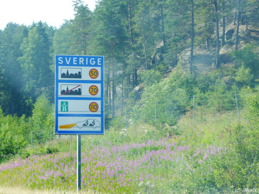 Schwedisches Hinweisschild auf Tempolimits und Tagfahricht