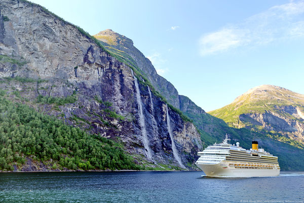 Waterfall Seven Sisters in Geirangerfjord - UNESCO world nature heritage