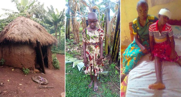 Bruder Max hat uns um Hilfe gebeten bei diesem Mädchen. Sie ist die jüngste Schwester eines Mitbruders aus Hanga. Sie lebt mit ihrer armen Mutter in dieser Hütte. Ohne unsere Hilfe hätten die Tumore am Kopf und im Unterleib nicht operiert werden können.