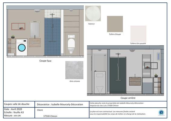 projet 3D salle de bains; Chinon; Isabelle Mourcely-DécorationDécoratrice UFDI Tours-Chinon 37 Centre Val de Loire