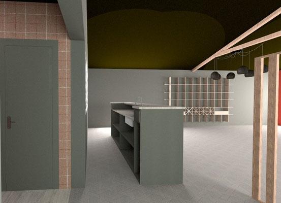 3D salle de reception du restaurant : vue sur la vinothèque
