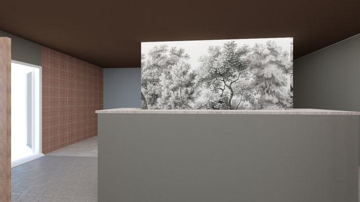 3D salle de reception du restaurant : vue sur le comptoir