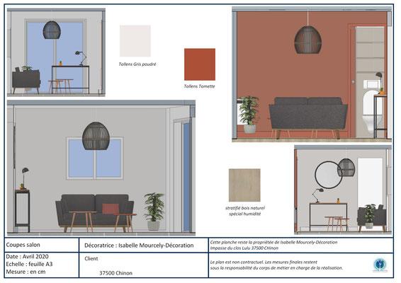 projet 3D salon couleur terracotta; Chinon; Isabelle Mourcely-DécorationDécoratrice UFDI Tours-Chinon 37 Centre Val de Loire