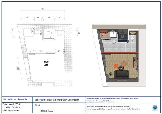 plan salle de bains; Chinon; Isabelle Mourcely-DécorationDécoratrice UFDI Tours-Chinon 37 Centre Val de Loire