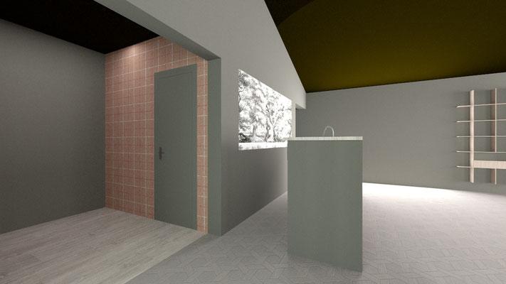 3D salle de réception du restaurant : l'entrée