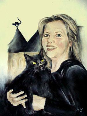 Frauenportrait mit Katze