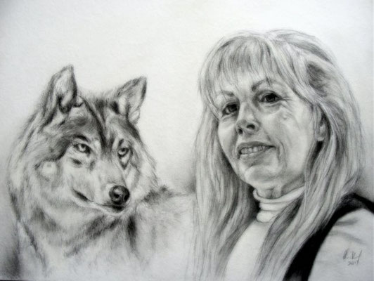 Peraonenportrait mit Wolf