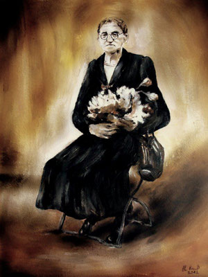 Alte Frau mit Acryl gemalt