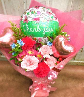 バルーンと生花のブーケ 4000円(税込)