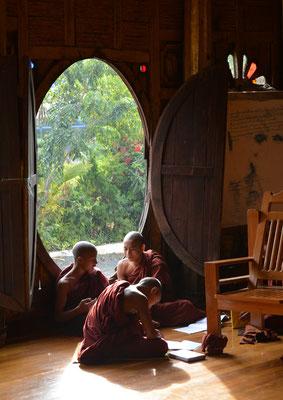 Novizen beim Studium  im Shwe Yan Pye-Kloster