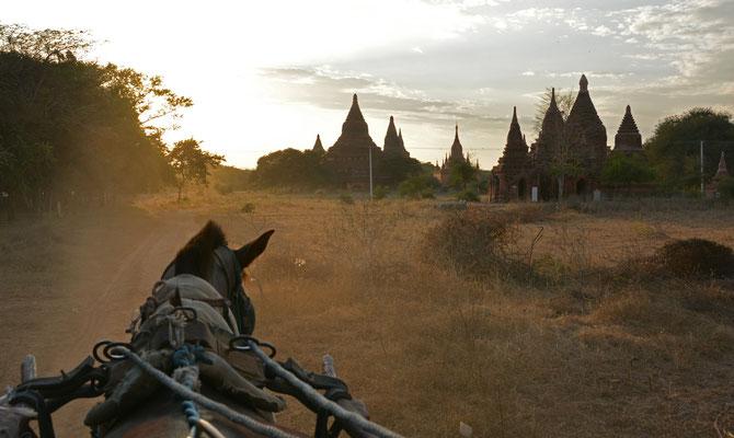Kutschfahrt durch die abendliche Tempelstadt von Alt-Bagan