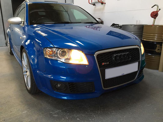 Audi RS4 Front Side Showing Grill Before Customisation & Light Damage Repair | Precision Paint | Wellington Somerset