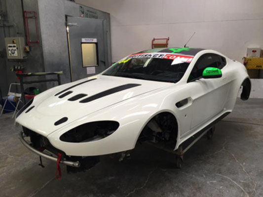 Aston Martin GT3 car has been in for a few body repairs | Precision Paint | Wellington | Somerset