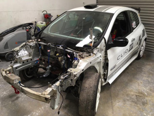 Renault Clio Cup Race Car Before Repairs | Precision Paint | Wellington | Somerset