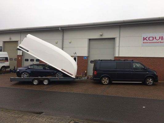 Early 2006 Aston Martin V8 Vantage Being taken back to customer via Brian James Trailers