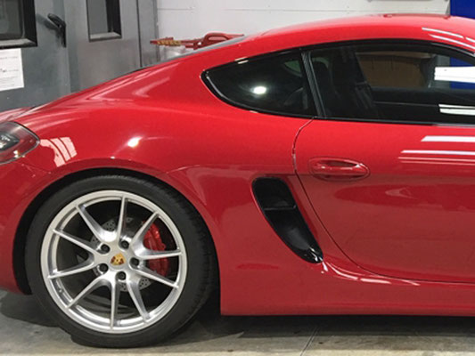 Porsche Caymen before the addition of new carbon fiber air ducts - Precision Paint