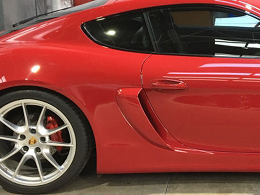 Porsche Caymen after the addition of new carbon fiber air ducts - Precision Paint