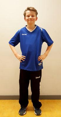Shootingshirt blau/weiß und Basketball Knopfhose schwarz/weiß von SPALDING
