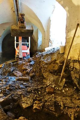 Arbeiten im Keller des Südflügels vom 12.02.2019. Foto: Jennifer Peppler