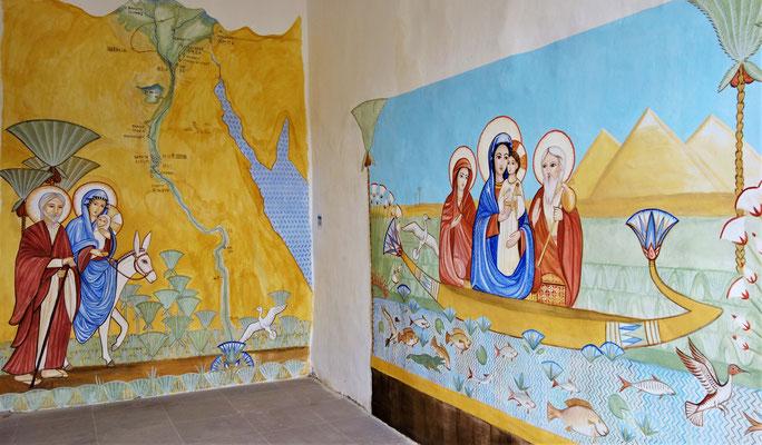 Die beiden Wandmalereien auf der Süd- und Westwand im neuen Themenraum. Malerei: Daniela Rutica. Foto: Jennifer Peppler