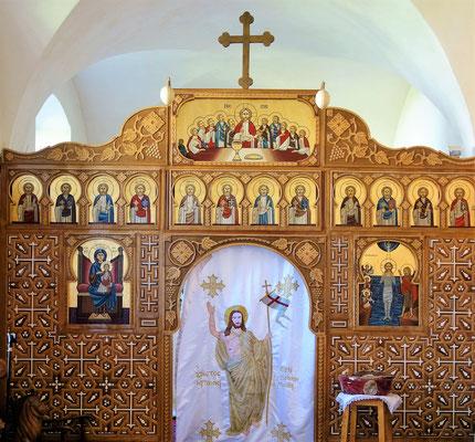 Die Koptische Ikonostase mit Maria und Jesus, Johannes dem Täufer und den zwölf Aposteln. Foto: Jennifer Peppler