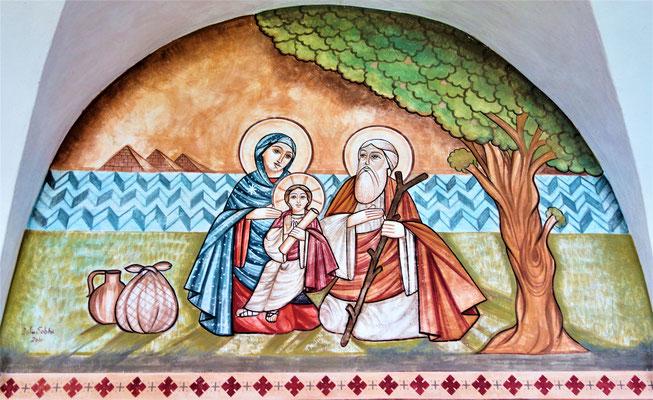Die Heilige Familie unter dem Baum von el-Matariya auf ihrer Reise durch Ägypten. Malerei: Dalia Sobhi. Foto: Jennifer Peppler