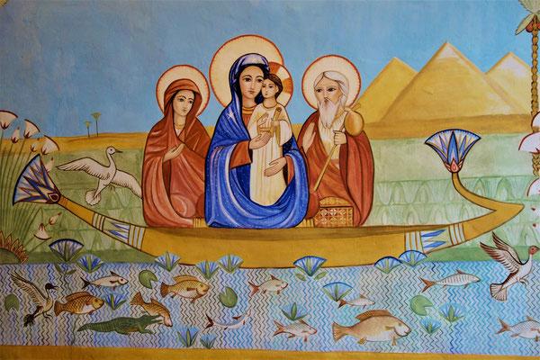 Die Heilige Familie in Begleitung der Hebamme Salome auf einem Nilboot. Malerei: Daniela Rutica. Foto: Jennifer Peppler