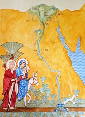 Die Heilige Familie vor einer Nilkarte mit den Stationen ihrer Reise durch Ägypten. Malerei: Daniela Rutica. Foto: Jennifer Peppler