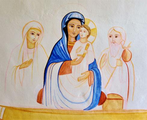 "Entstehung der zweiten Wandmalerei ""Die Heilige Familie in Ägypten"". Malerei: Daniela Rutica. Foto: Jennifer Peppler"