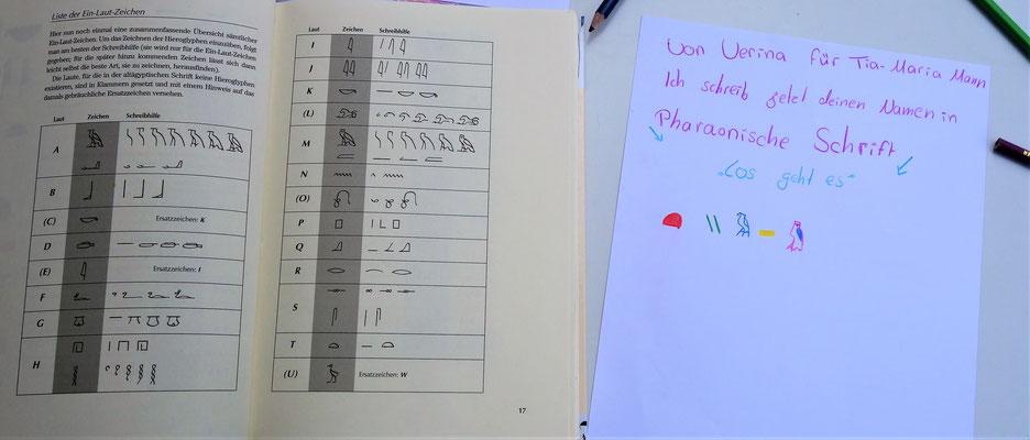Schreibung der Namen der Kinder in ägyptischen Hieroglyphen, nach dem Vorbild der Pharaonen. Foto: Jennifer Peppler