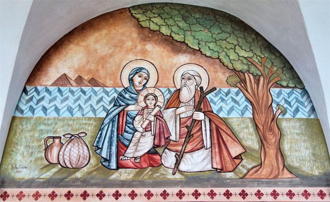 Die Heilige Familie in Ägypten. Malerei: Dalia Sobhi. Foto: Jennifer Peppler