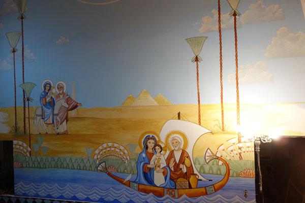 Die Flucht der Hl. Familie nach Ägypten, Wandmalerei von Daniela Rutica mit Naturfarben