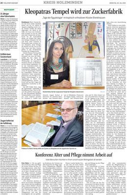 Täglicher Anzeiger Holzminden vom 28.07.2015, Bericht von Frank Müntefering