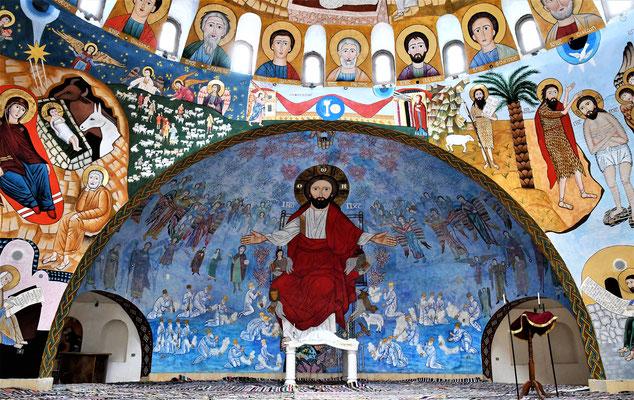 Malerein von Heiligen im Altarraum der neuen Kirche im ökumenischen Kulturzentrum in Anaphora. Foto: Maria Hopp