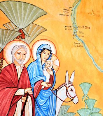 Die Hl. Familie fand in Ägypten Asyl.  Wandmalerei im Kloster von Daniela Rutica, Foto: Jennifer Peppler