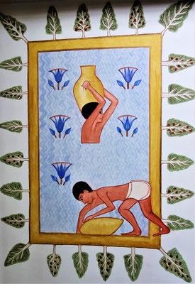 Ägyptische Arbeiter schöpfen Wasser aus einem heiligen Tempelsee, der mit Sykomoren umrandet ist. Malerei: Daniela Rutica. Foto: Jennifer Peppler