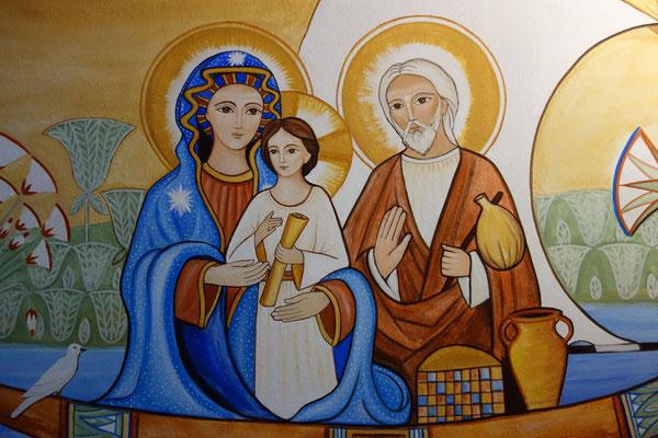 Die Hl. Familie im Papyrusboot, Detail der Wandmalerei von Daniela Rutica
