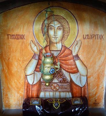 Die Reliquie des Hl. Mauritius: Ein Oberschenkel des Märtyrers der 22. Thebanischen Legion. Malerei: Dr. Rene Stephan 2000.