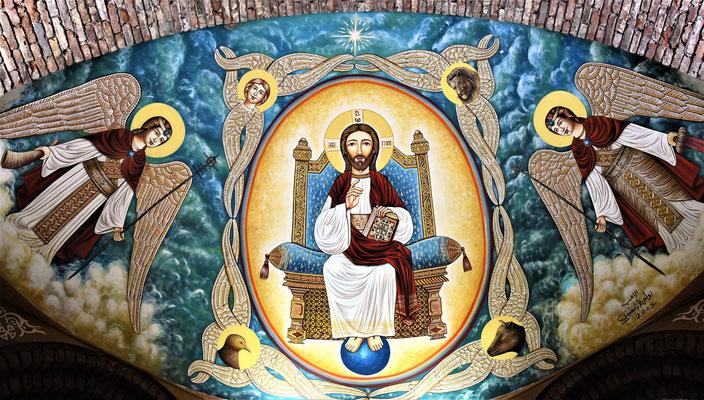 Malereien im Deir el-Anba Bishoi Kloster in Wadi el-Natrun. Jesus als Pantokrator. Foto: Maria Hopp
