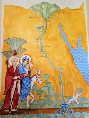 Joseph, Maria und das Jesuskind auf ihrer Reise durch Ägypten. Malerei und Foto: Daniela Rutica
