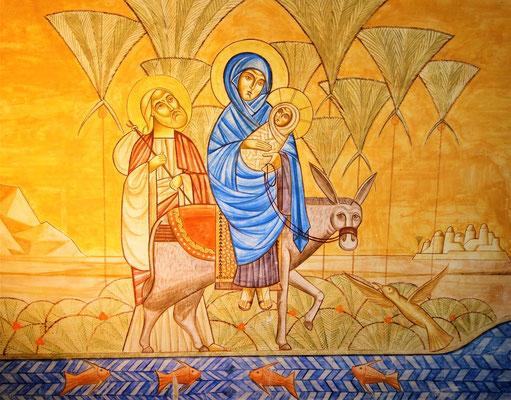 Die Heilige Familie während ihrer Reise durch Ägypten. Malerei: Dr. Stéphane René. Foto: Jennifer Peppler