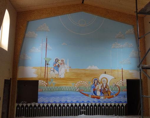 Die Hl. Familie reist in einem Papyrusboot auf dem Nil durch Ägypten. Wandmalerei von Daniela Rutica (Künstlerin und Ägyptologin, Kloster Brenkhausen)  und Angela Kaiser (Himmelsmalerin aus Potsdam)