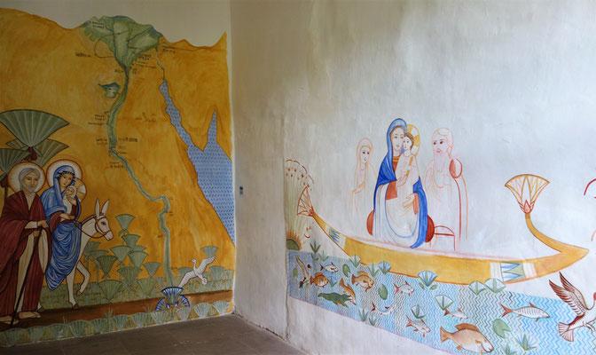 Ägypten-Räume: Die Heilige Familie und ihre dreijährige Reise durch Ägypten. Malerei und Foto: Daniela Rutica