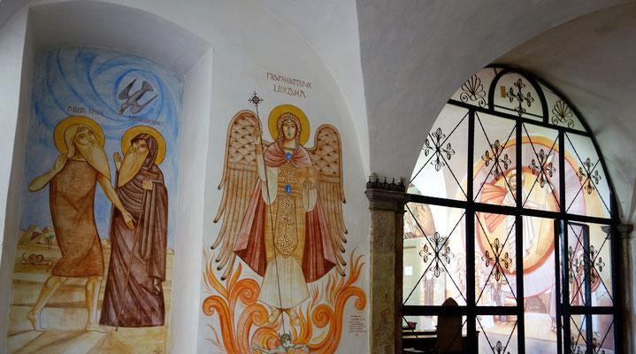 Eingang zur Klosterkapelle: Hl. Paulus und Hl. Antonius, Hl. Erzengel Michael, Malerei: Dr. René Stephan. Foto: Jennifer Peppler
