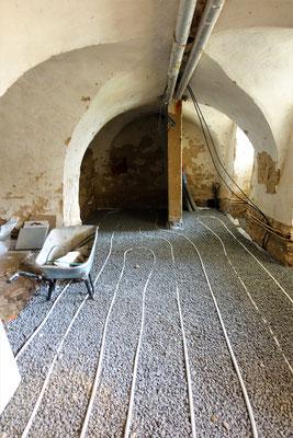 Installation einer Fußbodenheizung für einen Mehrzweckraum am 12.03.2019. Foto: Jennifer Peppler