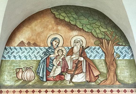 Die Heilige Familie unter dem Baum von Matahria in Kairo, Malerei: Dalia Sobhi 2011. Foto: Jennifer Peppler