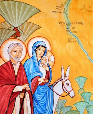 Hl. Familie während ihrer Reise durch Ägypten. Malerei: Daniela Rutica. Foto: Jennifer Peppler