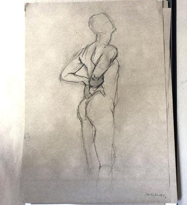 AKTSTUDIE, 62x45cm, Kohle auf Papier