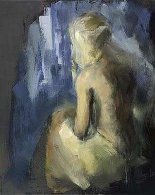 Alice Haring, verschwommene Erinnerung, 2014,  Öl auf Glas, 50x40cm