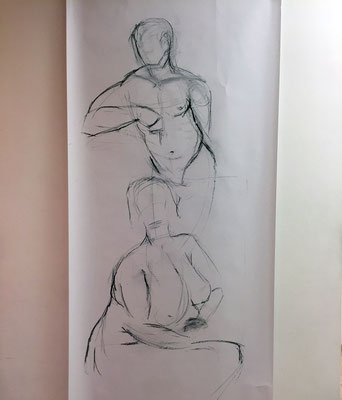 Alice Haring, Akt-Studie 2019, Kohle auf Papier, 120x70cm